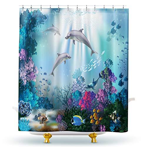 Homewelle Delfin-Duschvorhänge mit blauem Ozean für Kinder, lustige Fische, Koralle, Meeresgr&, wasserdicht, 60 x 72 cm, 12 Haken aus Polyestergewebe für Badezimmer & Badewanne