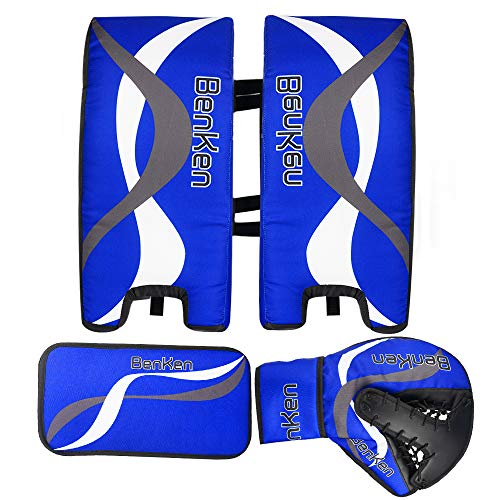 BenKen Sport Eishockey Torwart Set für Kinder & Teenager | Hockey Torwart Fanghand Handschuhe | Feldhockey Schienbeinschoner | Hockey Blocker (blau, 21