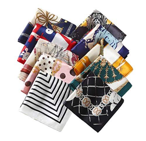10PCS 197 x 197 Fashion Small Square Satin Scarf Printed Satin Neckerchief Multipurpose Neck Head Scarf Necktie Headband Hairband Wristband for Women Lady Girls Mix Color Random