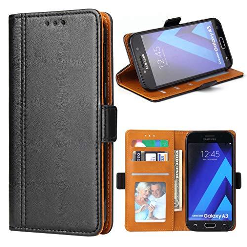 Bozon Galaxy A3 2017 Hülle, Leder Tasche Handyhülle für Samsung Galaxy A3 (2017) Schutzhülle mit Ständer & Kartenfächer/Magnetverschluss (Schwarz)