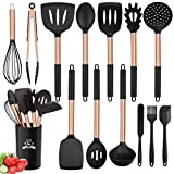 Silicone Cooking Utensil Set, 14pcs Kitchen Utensils Set Non-stick Heat Resistant Cookware Copper...