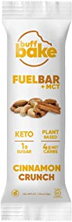 Buff Bake Fuel Bar + MCT   Keto Friendly   Plant Based   Gluten Free   12g of Protein   1g Sugar   4g Net Carbs   Non Dairy   Vegan (12 Count, 50g) (Cinnamon Crunch, 12 Count)