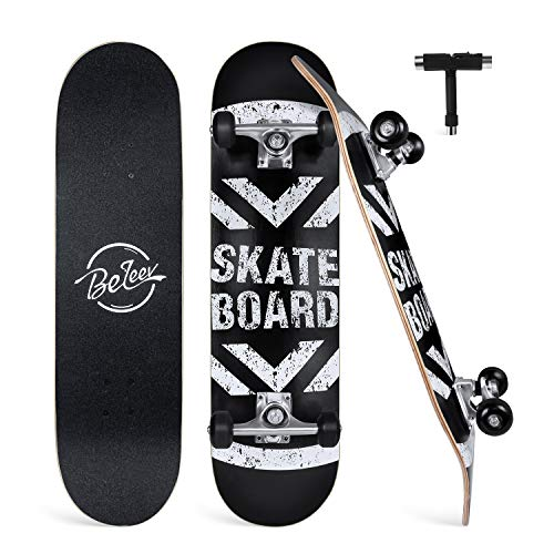"BELEEV Skateboards for Beginners, 31""x8"" Complete Skateboard for Kids Teens & Adults, 7 Layer Canadian Maple Double Kick Deck Concave Cruiser Trick Skateboard with All-in-One Skate T-Tool (Black)"
