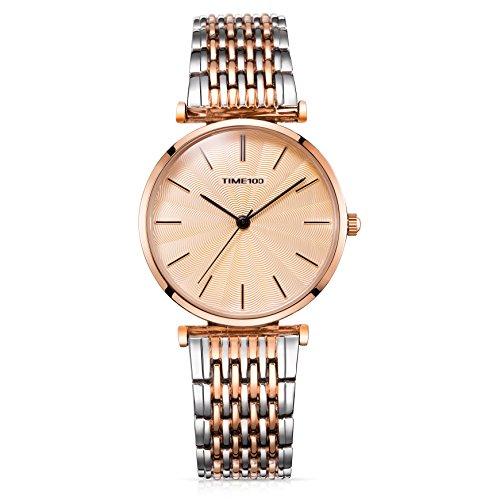 Time100 Reloj de Cuarzo para Mujer Lujo Sweet de pétalo Diamantes Pulsera Cuarzo Mujer Reloj de Plateado W50886L (Dorado)
