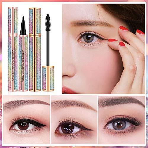 ColorfulLaVie Eyeliner Pen Mascara Set, Fibre Mascara Imperméable À L'eau Eyeliner Crayon Imperméable À L'eau Des Outils De Maquillage Des Yeux