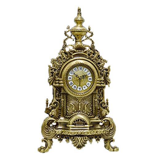 Triplsun-Clock Retro Vintage Europäischen Stil Dekorative Großvater Uhr Moderne Kaminsims Regal Tischplatte (Golden)