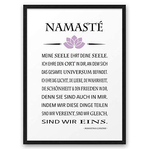 NAMASTÉ Zitat Gandhi ABOUKI Kunstdruck Poster Bild Geschenk-Idee Gruß Yoga Pilates Chakra Meditation für Sie Ihn Frauen Männer Freund-in optional mit Holz-Rahmen