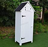 BIRCHTREE Wooden Sentry Box Beach Hut Shed Outdoor Garden Storage Cupboard Tool Unit Cabinet Shelves WBH01 White