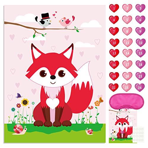 FEPITO Pin das Herz auf dem Fuchs Valentinstag Spiel mit 24 Stück Herz Sticker für Valentinstag Party Supplies, Kindergeburtstag Party Dekoration
