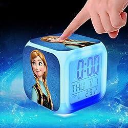Elsa and Anna Figure LED Alarm Clock Kids Glow Colorful Toys for Girls Wake up Light reveil Table Clock reloj despertador,9