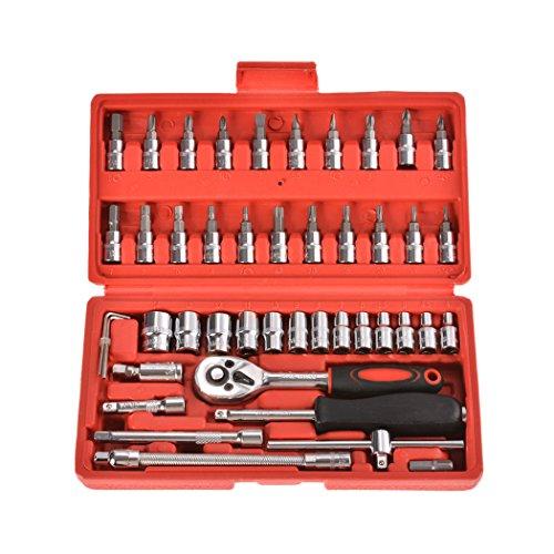 Buyi-World 46-teilige Ratschenkasten Steckschlüssel Werkzeugset, Kohlenstoffstahl Knarrenkasten Werkzeugkoffer Werkzeugkasten Bit Imbus Werkzeug Set