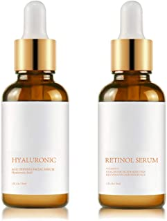 Ciencimy Retinol Serum, Hyaluronic Acid Serum - Boost Collagen Production, Reduce Wrinkles, Fine Lines, Even Skin Tone, Age Spots, Sun Spots(2 Pack)