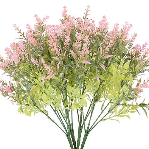 HO2NLE 4PCS Fake Flowers Artificial Lavender Bouquet Plastic Plants Bundles Decoration for Home Wedding Outdoor Garden Patio Party Table Centerpieces Decor - Pink