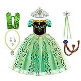 BE-STRONG Fiesta De Disfraces De Princesa para Cumpleaños, Vestido con Peluca Corona Maza Guantes Accesorios De Edad, para Niñas De 3 A 12 Años,130