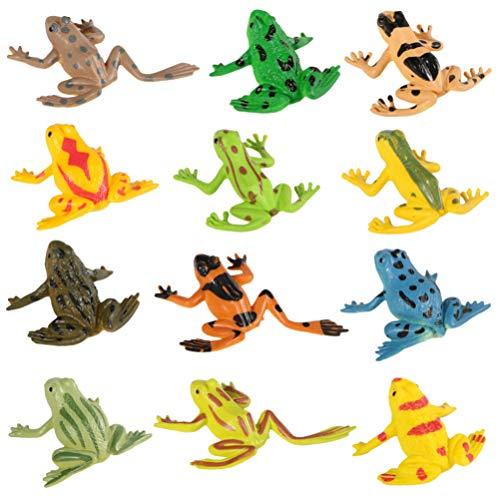 NUOBESTY 12 Stück Mini Gummi Frosch Sets Lernen Realistische Frosch Figur Spielzeug Frosch Miniatur Dekor Bonsai Ornament Kuchen Topper
