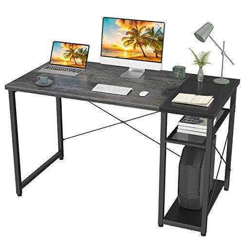 Homfio - Escritorio industrial con estantes, 99 cm, mesa de escritorio con 2 estantes de almacenamiento, moderno y resistente escritorio de estudio para dormitorio, color marrón y negro