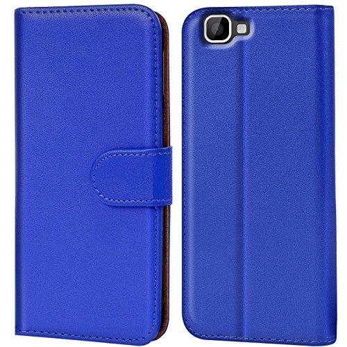 Verco Rainbow Hülle, Handyhülle für Wiko Rainbow Tasche PU Leder Flip Case Brieftasche - Blau