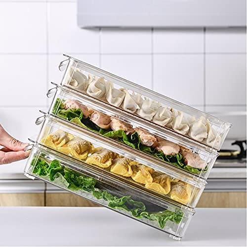 Cajón organizador para frigorífico, organizadores y almacenamiento para frigorífico, apilables transparentes, contenedores de almacenamiento para congelador con asa, soporte para huevos, para -A