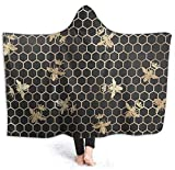 Hooded Blanket Throw, Gold Queen Bees and Honeycomb Wearable Blanket Hoodie Plush Blanket Throws Fluffy Soft Warm Comfortable 50x40 inches