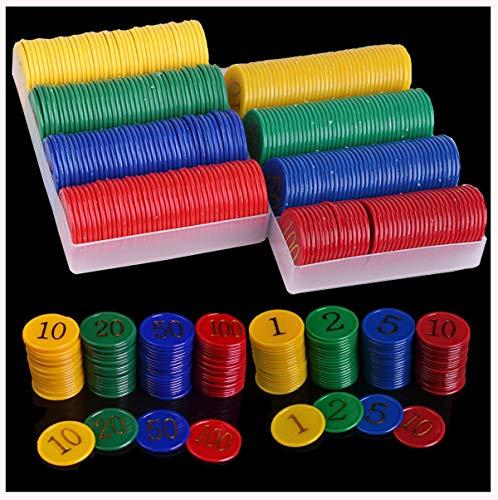 dancepandas Juego de Fichas de Póker 320PCS Fichas de Bingo Poker Chips con Números Token De Juego De Entretenimiento(1 2 5 10 20 50 100)