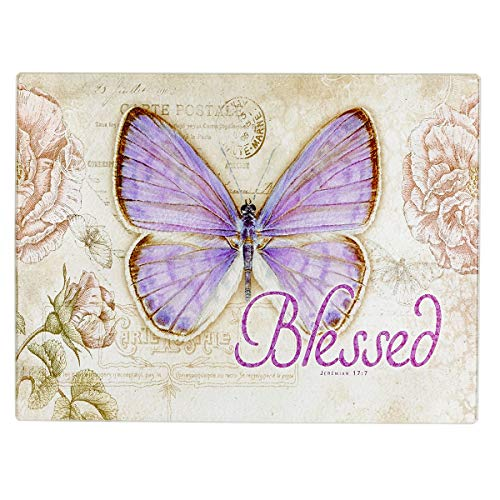 Christian Art Gifts Tempered Glass Cutting Board Tray/Trivet | Botanic Butterfly Blessings Purple Butterfly'Blessed' – Jeremiah 17:7 Bible Verse | Inspirational Home and Kitchen Décor