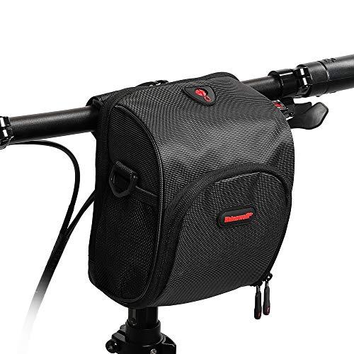 UPANBIKE Fahrrad Lenkertasche, Fahrradtasche Multifunktionale Fahrrad Vorderer Rahmentasche mit Schultergurt und Regen-Abdeckung(Schwarz)
