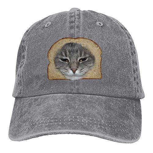 Egoa Sombrero de papá Unisex Funny Bread Cat Sombreros de Camionero Vintage Chic Denim Gorra de béisbol Ajustable