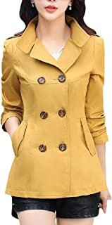 Energy Women's Solid Lapel Double-Breasted Short Fit Long Sleeve Outwear Coat