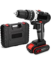 Anself 36V Multifunctional Impact Electric Cordless Drill High-power Battery Wireless Rechargeable Hand Drills Brush Motor Home DIY Electric Power Tools