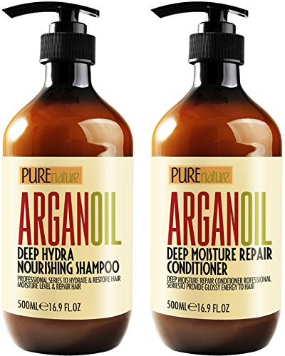 Moroccan Argan Oil Shampoo and Conditioner SLS Sulfate Free - Best for Damaged, Dry, Curly or Frizzy Hair - Thickening for Fine / Thin Hair, Safe for Color and Keratin Treated Hair