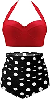Womens Vintage Retro Polka High Waisted Underwire Bikini Two Piece Swimsuits Red Wave Point M