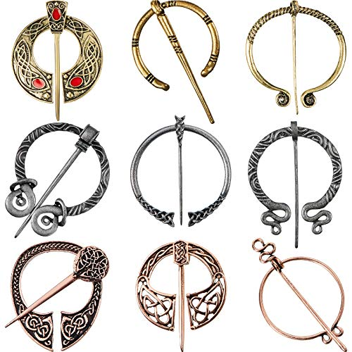 9 Pieces Vintage Viking Brooch Cloak Pin Scarf Shawl Buckle Clasp Pin Brooch Penannular Brooch for Costume Accessory, Antique Silver, Gold, Rose Gold (Classic Style)