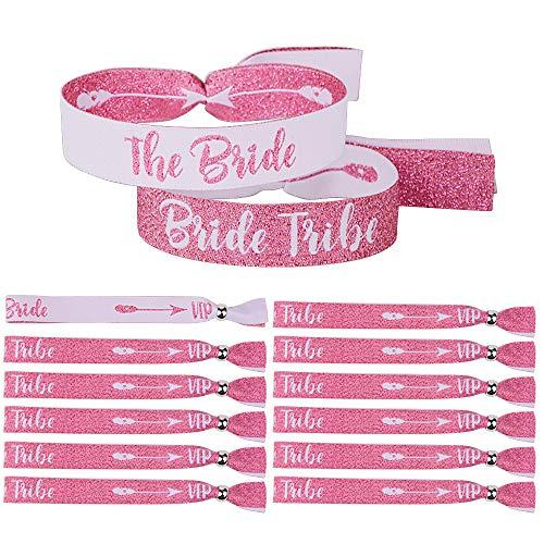 12 pcs JGA Armbänder Set für Frauen - 1 the Bride und 11 Bride Tribe Armbänder Wristbands - als JGA Accessoires für JGA Party Junggesellinnenabschied Accessoires Hochzeit Hen Party in Englisch