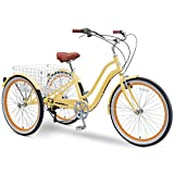 sixthreezero EVRYjourney 26 Inch 7-Speed Hybrid Adult Tricycle with Rear Basket, Cream, One Size (630334)