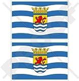 ZEELAND Provinz Flagge, Fahne Niederlande, Zeeland Niederländisch 75mm Auto & Motorrad Aufkleber, x2 Vinyl Stickers