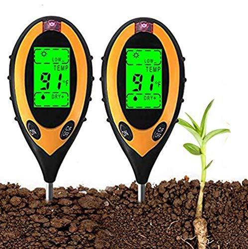 YOMERA 2 PC Bodentester 4-In-1-LCD Boden Feuchtigkeit Mit Pflanzen Hygrometer/Temperatur/Licht und PH Säuretester für Pflanzen, Garten, Rasen, Bauernhof, Indoor, Outdoor