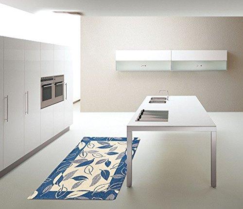Paar Bettvorleger (2Stück) Teppich Linea Blatt–Wohnzimmer Living Camera–Größe cm. 105x 65–Chenille mit rutschfestem Untergrund–Dekorieren Sie Ihr Schlafzimmer–maschinenwaschbar–praktisch und bequem blau