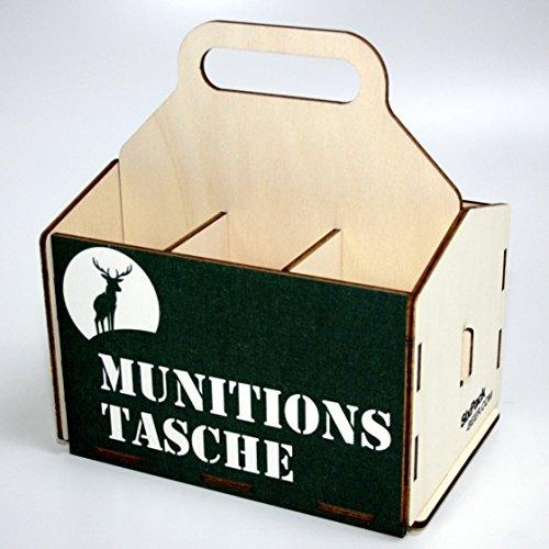 Bierträger aus Holz - SixPack - Fischen - Geschenke für Männer - Grillen - Jagen (Munitionstasche)