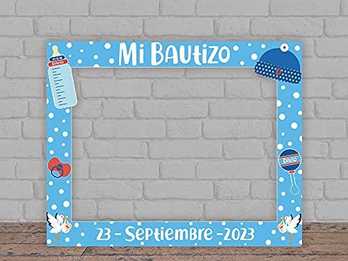 Oedim Photocall Mi Bautizo Azul Personalizado + Atrezzos, 100x100cm, Eventos o Celebraciones puntuales, Ventana y Atrezzos Troqueladas, Photocall Divertido
