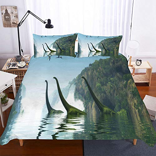 AHJJK Duvet cover set 79 x 79 inchDinosaurs in the water 3D Printed Microfiber Bedding Duvet Cover with 2x Pillowcases & Zipper Closure Quilt Case for Boy Girl Single Double King Bed