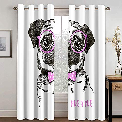 ZXDYLY Curtains Blackout 43x85 Inch 2 Panels Eyelet Curtains for Livingroom, Printed Curtain Room Darkening Bedroom, Grommet Panel Kitchen Window Curtain, Dog