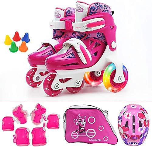 Roller Roller Skates Enfants Filles, Toddler Tridler Ajustable Skates pour enfants Boys Bottes Roller Chaussures pour 2 6 ans avec un ensemble de matériel de protection contre le casque, Red3 S (28 ~
