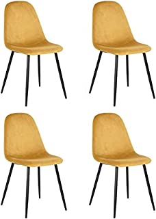 MEUBLE COSY Mueble – Juego de 4 sillas de comedor escandinavas con asiento y respaldo recubiertas de terciopelo amarillo, ...
