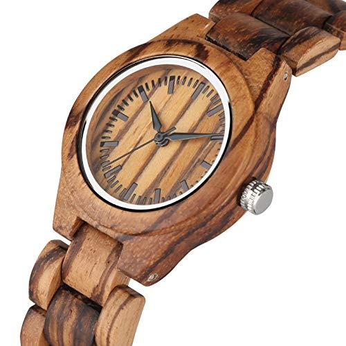 IOMLOP Reloj de madera retro para mujer, reloj de madera, con esfera pequeña, reloj de cuarzo para mujer, reloj de pulsera de madera ambiental, 2