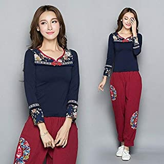 FidgetGear Chinese Style Womens Embroidery Shirt Long Sleeve V-Neck Slim Tops Blouse New Dark Blue Asian M=US XS