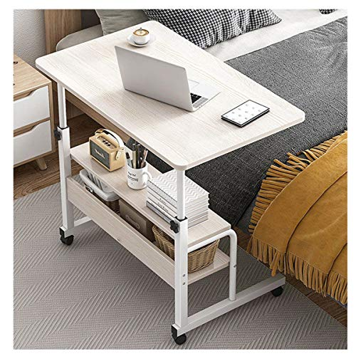 LYLSXY Overbed Table, Shaped Side Table Coffee Tea Snack Table Height Adjustable on Wheels Mobile Table for home care,hospitals (Color : White oak, Size : 60 * 40CM)