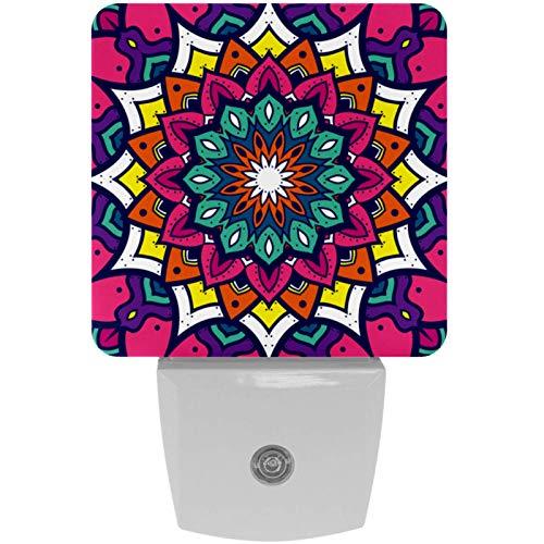 Lámpara LED de noche con diseño de mandala, estilo indio, con impresión colorida, con sensor de movimiento automático del atardecer al amanecer, apto para dormitorio, baño, escaleras, cocina, pasillo