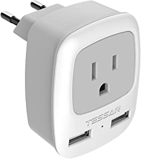 European Travel Plug Adapter, TESSAN International Power Plug with 2 USB, Outlet Adaptor for US to Most of Europe EU Spain Iceland Italy (Type C)