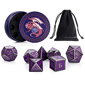 ALLCOLORED Metal DND Dice Set Standard 16mm Polyhedral D&D Dice Purple Black with Metal Display Case and Velvet Bag for Playing Tabletop Roleplay Games Dungeons and Dragons