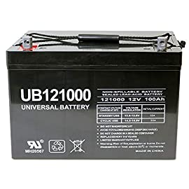 Universal Power Group 12V 100Ah Solar Wind AGM SLA DEEP Cycle VRLA Battery 12V 24V 48V 1 UPG #45978 UB121000 12V 100Ah Dimensions: 12.17 inches x 6.61 inches x 9.16 inches. Weight: 63.93 Lbs SLA/AGM maintenance free, spill proof battery